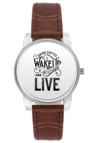 Women's Watch, BigOwl Drink Coffee Wake Up And Live Designer Analog Wrist Watch For Women - Gifts for her dials