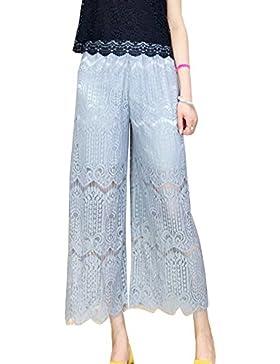 Pantalon Palazzo Mujer Elegante Baggy Cintura Elástica Encaje Pantalones Anchos Pantalones Casuales