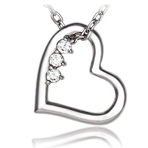 Meranu donna collana con pendente - Forma cuore con 3 zirconie - 42 cm (Argento (Nero Pendente Di Vetro Di Murano)