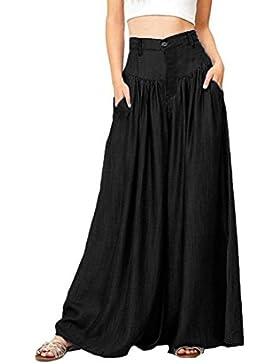 DAYLIN Mujer Casual Cintura Alta Tallas Grandes Color Sólido Mezcla de Algodón Pantalones Anchos