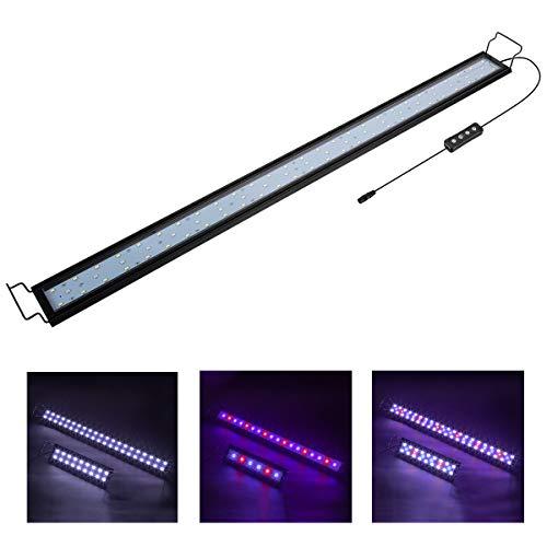 Hygger 25W Aquarium LED Beleuchtung, Aquarium LED Lampe mit Timer, dimmbare, LED Aquarium Licht mit Verstellbarer Halterung für 87cm-111cm Aquarium Fisch Tank Fisch Pflanze(Weiß & Blau & Rot Licht)