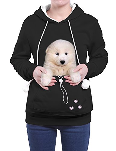 Wangyue Frauen Niedliche Känguru Tasche Hoodie Langarm Pullover Sweatshirt Schwarz01 M