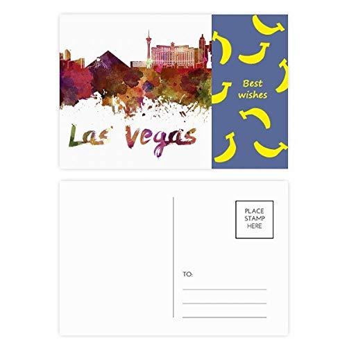 Las Vegas America City Aquarell-Bananen-Postkarten-Set, 20 Stück