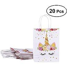 BESTOYARD 20 Unicornios Bolsas de papel de fiesta de unicornios Rainbow Unicornio Treat Bags Bolsas de regalo de fiesta Bolsitas de chocolate Candy para ...