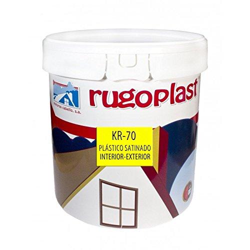 Pintura plástica blanca satinada interior / exterior muy lavable ideal para decorar tu casa con un poco de brillo ( salon, baño, dormitorios, cocina... ) KR-70 Blanco (15 L) Envío GRATIS 24 h.