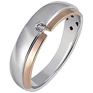 goldmaid Damen-Ring 925 Sterlingsilber rot vergoldet EIN weißer Zirkonia