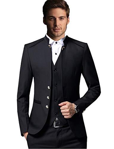 YSMO Herren Slim Anzüge Stehkragen 3-teilig Blazer Bräutigam Hochzeitsanzug im chinesischen Stil -