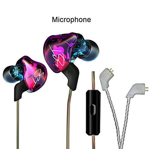 Arteki ZST Colorful In-Ear Earphone, Gentman HiFi Bass Earbud Balanced Armature+Dynamic Hybrid Dual Driver Hearphone for MP3 Cellphone Sports Headsets with MIC Cellphone (Hearphone Mp3)