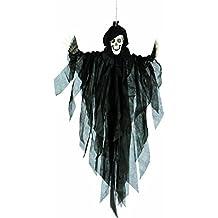 Decorazione da impiccare spettro 75 cm Fantasma da appendere di Halloween nero Addobbo fantoccio spirito ricevimento horror Gadget per feste sembianze apparizione Ornamento per party spettrale Accessorio festeggiamento inquietante