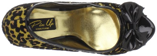 Pin Up Couture Bettie-12 Damen Leo Pumps Peeptoes Gold Gltr (stampa Ghepardo)