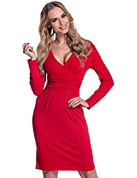 Glamour Empire Women's Long Sleeve Stretchy Jersey Pencil Dress 285
