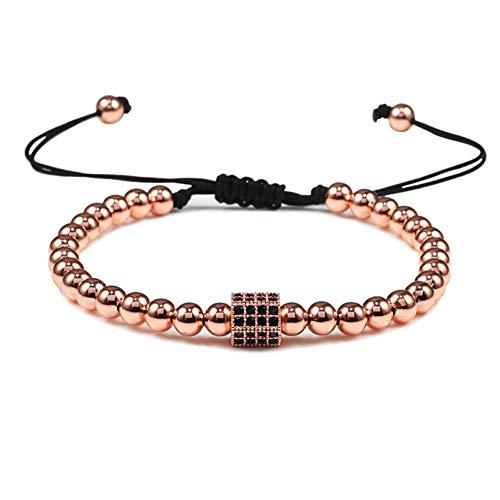 Imagen de pulseras pulseras de cuentas de cobre de prisma simple cuentas ajustables trenzado macramé encanto pulsera hecha a mano para hombres mujeres regalo de joyería joyería