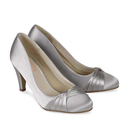 Paradox London Pink Toe Round Mid Heel Plissé Cour Ruffle chaussures de mariage Ivoire - Ivoire