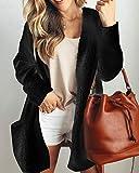 Swallowuk Frauen Cardigan Damen Elegante Plüsch Jacke Mantel Long Loose Parka Outwear Strickjacke Windbreaker Langarmshirt Tops (XXL, Schwarz)