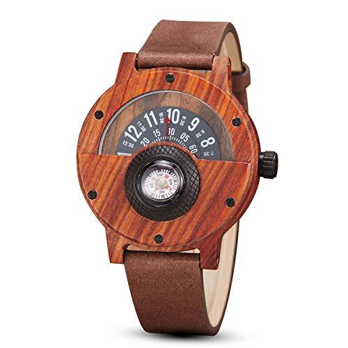 gorben Kompass Plattenspieler Herren Armbanduhr Holz Rindsleder Riemen Leder handgefertigt natur Holz Uhren Quarz Sport Armbanduhr Geschenk-Box