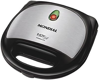 Mondial Premium - Grill y sandwichera, placas desmontables, color plateado