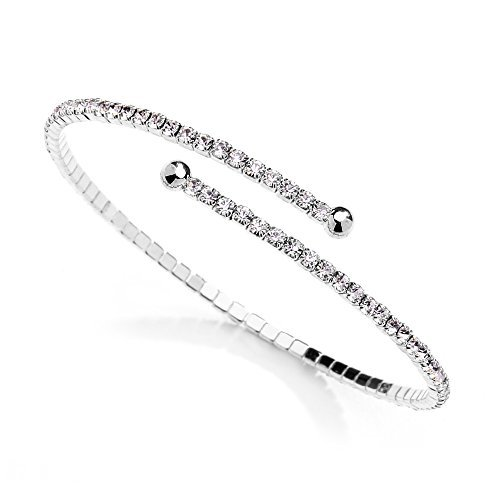 mariell Österreichischer Kristall Strass Silber Manschette Armband 1-reihig Fashion Armreif–Hochzeit, Ball, Bridesmaid