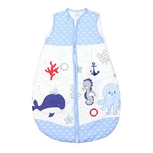 TupTam Baby Schlafsack Wattiert ohne Ärmel ANK001, Farbe: Ozean Blau, Größe: 62-74