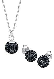 Elli Damen-Halskette Schmuckset Elegant Funkelnd silber 925 Swarovski Kristall schwarz