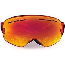 LESHP Gafas de Esquí 3 Capas de Espuma Cómodas Ajustables Desmontables Antifricción Anti-vaho Antivaho Desmontable Gafas de Nieve Gafas de snowboardí Esférica Más Amplia Visión 178×98mm Color Rojo Gafas Ski (Color Rojo para Adultos Gafas Ski)
