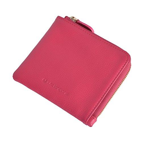 55310f0f45 Lackingone Mini Portafoglio di Pelle RFID con Cerniera Lampo Porta Carte da  viaggio Portafoglio Classico Borsa Wallet Rosa