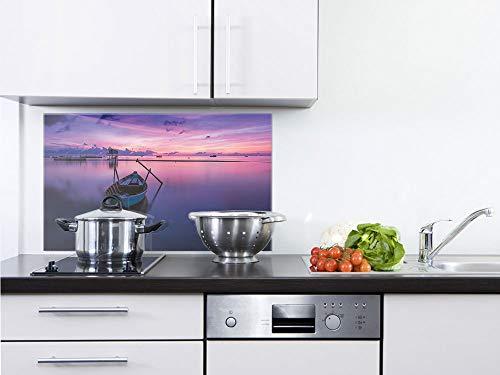 GRAZDesign Fliesenspiegel Küche Boot - Glasrückwand Küche Ruhe - Rückwand Küche Landschaft - Küchenrückwand Glas Natur / 60x60cm / 200312_60x60_SP (Ruhe Der Natur)