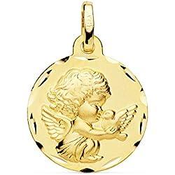 Medalla Bebé Ángel Burlón Oro Amarillo 18 Kilates 16mm - Joya Personalizable, Grabado gratuito