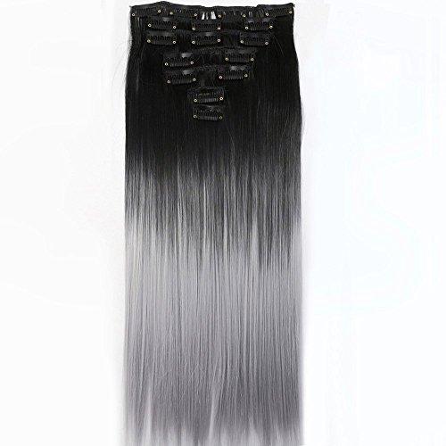 """Neverland 22""""Full-Kopf-Klipp in den Haar-Verlangerungen Ombre Gerade Dip Dye 7Pcs (Natural Schwarz Silbergrau)"""