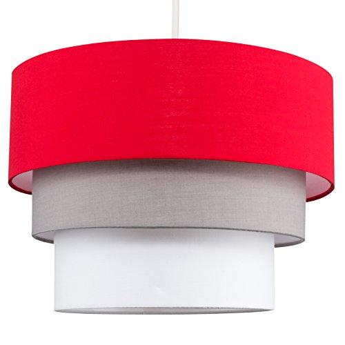 MiniSun - Preciosa pantalla de lámpara de techo colgante 'Azteca' - redonda a 3 niveles de tela en rojo, gris y blanco