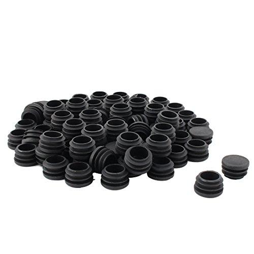 Président table base plate Plastique tube rond insert tuyau noir couvercle 28 mm Diamètre 80pcs