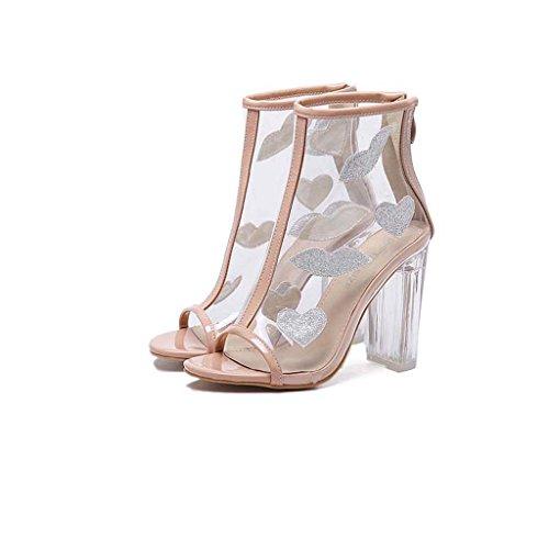 SHEO sandali con tacco Caricamenti del sistema trasparenti delle signore con il cristallo alti con i sandali stivali neri Albicocca
