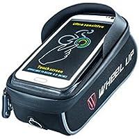 Wiiguda@ WHEEL UP Bike Frame Bag, Bike Bag, Bolsa de bicicleta, Bolsa de manillar de bicicleta, con funda impermeable para teléfono táctil de menos de 6,0 pulgadas, Negro y Azul.