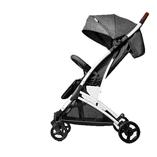 DYFAR Kleiner Faltbarer Buggy mit Vier Rädern und einhändig zusammenklappbarer Liegeposition Höhenverstellbarer Schiebegriff von Geburt an bis 25 kg Stoßstange, Gray