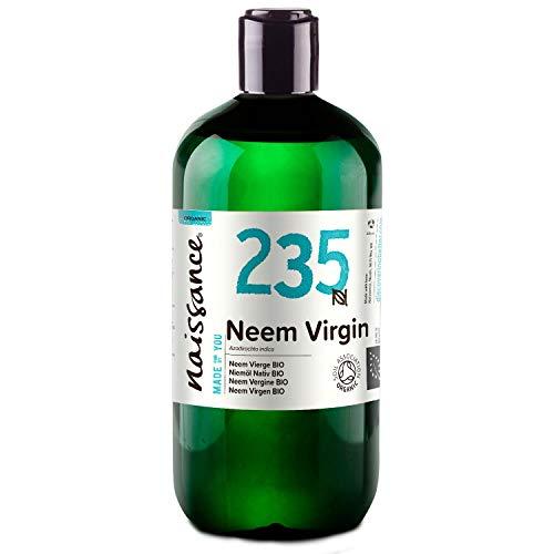 Naissance Aceite Vegetal de Neem Virgen BIO n. º 235 - 500ml - Puro, natural, certificado ecológico, prensado en frío, vegano y no OGM.