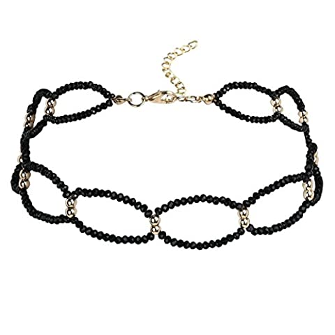 KnSam Ras du Cou Choker Collier Alliage Hollow Ovale Shape Bead Cristal Or Noir [Fille Gothique]