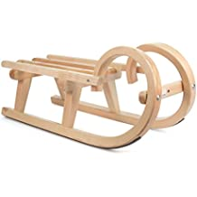DREGENO Hörner-Schlitten aus Holz, Geschenk für Kinder bis 1 m, von DREGENO SEIFFEN 60 cm – Original erzgebirgische Handarbeit