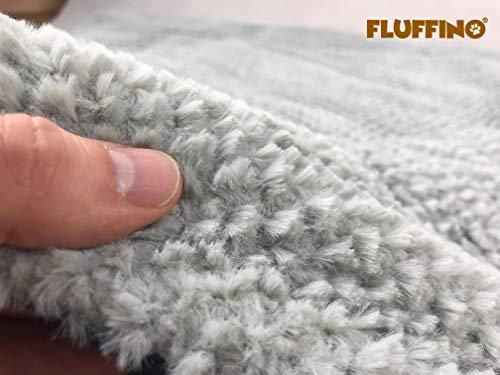 FLUFFINO Hundedecke – Flauschig, Weich u. Waschbar (Größe L, 104 x 68 cm, grau)- erhöhte Rutschfestigkeit durch Gumminoppen – Für große u. kleine Hunde o. Katzen – Hundematten/ Hundekissen, Katzendecke (L) - 5