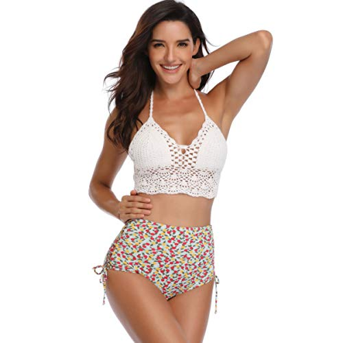 ALEILA Bikini-Set, Spitze Design Vintage Tankini Set Hand Stricken Strand Badeanzug,S -