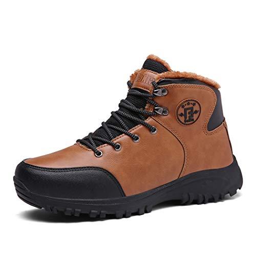 Veluckin Winterschuhe Herren Wasserdicht Leder Warm Gefüttert Wanderschuhe Winter Outdoor Trekking Schuhe Stiefel,Khaki,45EU