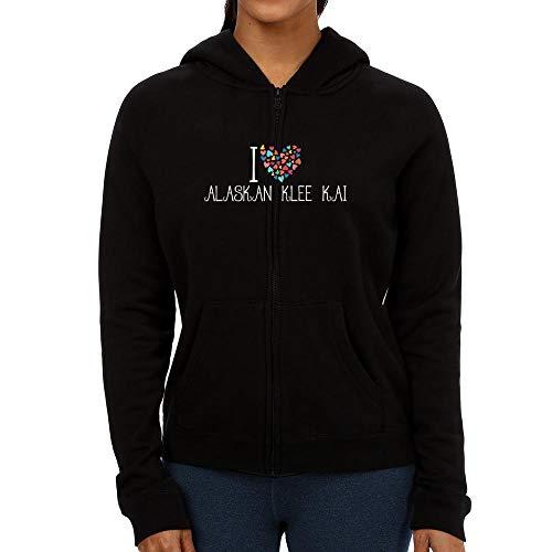 Idakoos I Love Alaskan Klee Kai Colorful Hearts Damen Kapuzenjacke M Klee Zip Hoodie