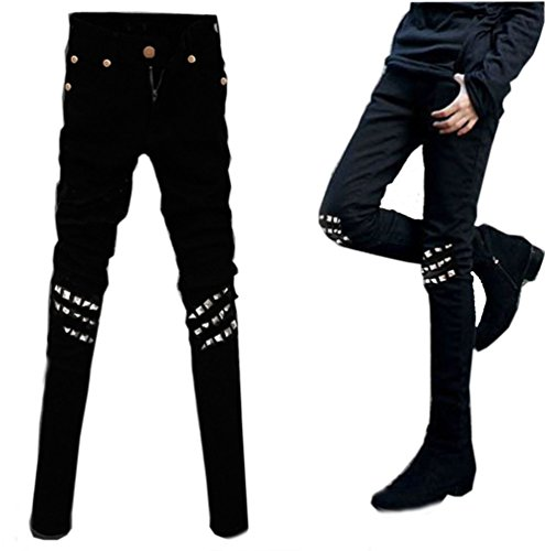 Ghope Hommes Pantalon rivets Slim marée de la mode masculine genou mâle pieds jean coréenne étirer Noir