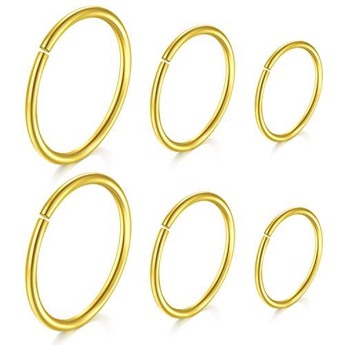 JFORYOU Gold Helix Piercings Ring Nasenpiercing Ring Tragus Ohrring Lippenpiercing Chirurgenstahl Körperschmuck - Ringe Gold-nase Ohrstecker