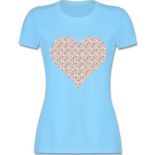 Vintage - Herz Blumen bunt - tailliertes Premium T-Shirt mit Rundhalsausschnitt für Damen Hellblau
