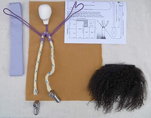 Kunsthandwerk Kolb Bastelpackung - Frau 28 cm MIT Gewelltem Langhaar BRAUN - Arbeitsmaterial für Erzählfiguren - ähnlich Egli-Figuren