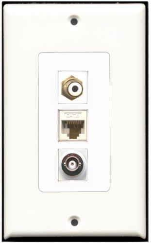 Keystone Modular Wall Plate (RiteAV-1Port RCA und 1Port BNC und 1Port Cat6Ethernet White Decora Wall Plate Decora)