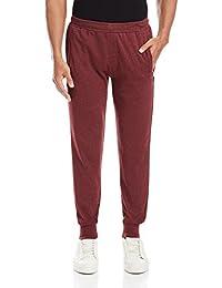 Hanes Men's Cotton Joggers Pants (8907378022394_MPP12-240-PL_Large_Maroon Melange)