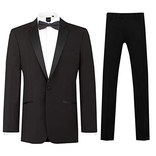 99207408ce82 Dobell Mens Black 2 Piece Tuxedo Regular Fit Notch Lapel (46R Jacket with  40R Trousers