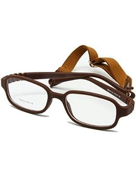 EnzoDate chicas jóvenes lentes ópticas frame con cinta flexible para una pieza no niños, talla 45