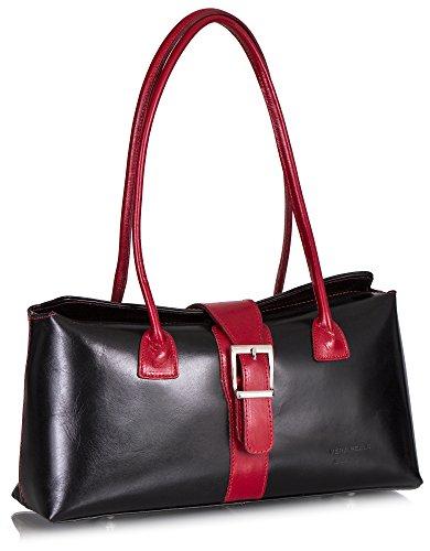 Big Handbag Shop, Borsa a secchiello donna One Black - Red Trim