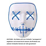 Alxcio LED Light EL Wire Cosplay Maske für Halloween Christmas Party Costume Mask Purge Horror Blau Mask